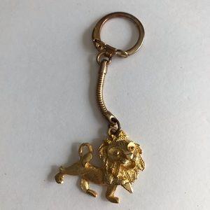 Vintage Gold Lion Keychain Keyring Holder